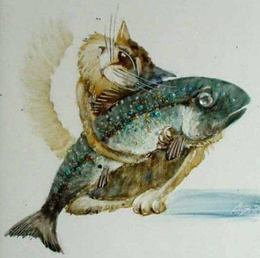 Кот и любимая рыба, оригинал