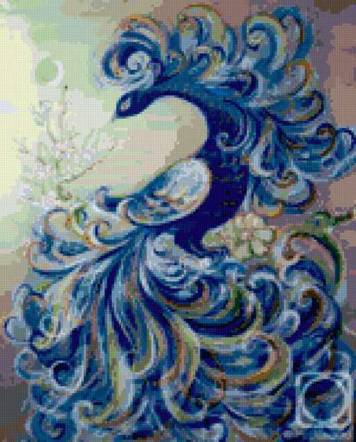 Вышивки синяя птица предпросмотр