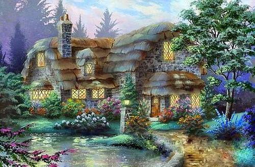 Дом у реки, домик, вечер,