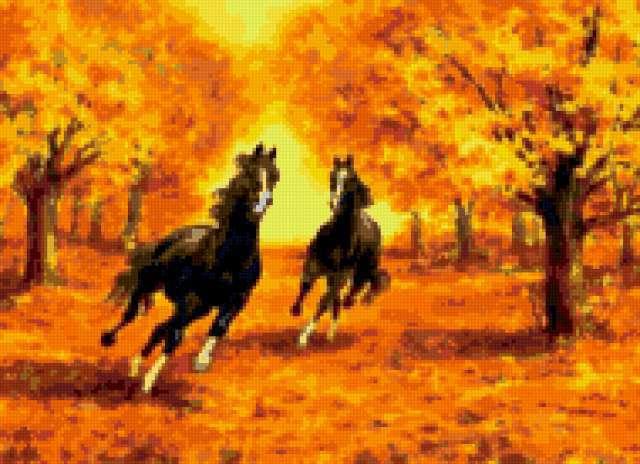Бег коней в осеннем парке,