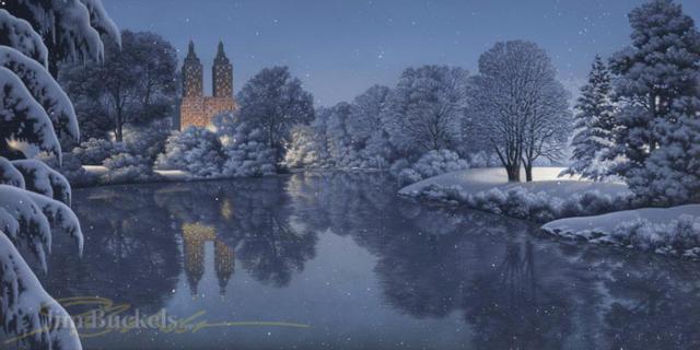Зимний пейзаж, живопись