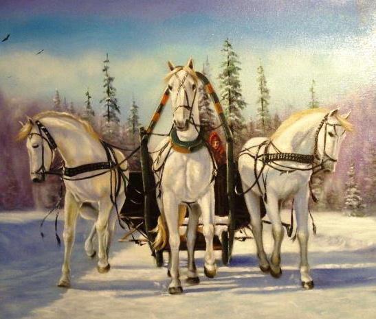 Тройка белых коней, животные,