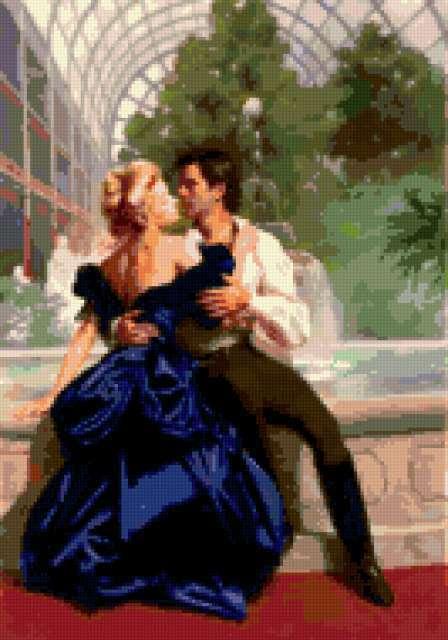 Любовь и страсть у фонтана,