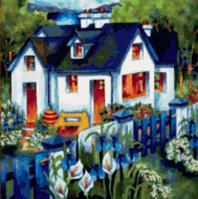 Домик в саду, живопись,
