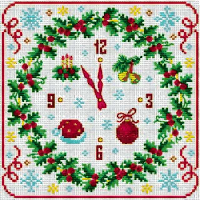 Новогодние часы, вышитые часы,