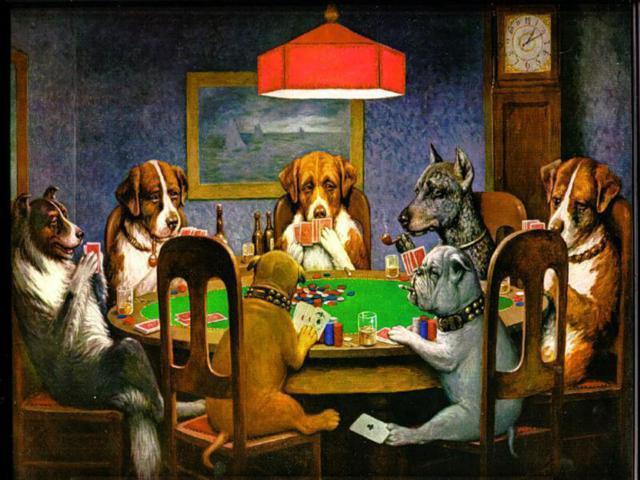 Собаки играющие в покер,