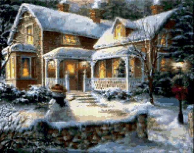 Рождественская ночь, открытка