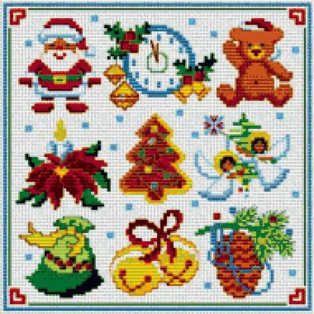 Рождественские мини-вышивки