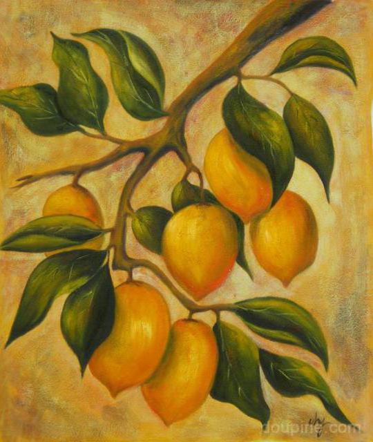 Ветка с лимонами, картина,