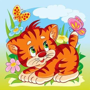 Тигрёнок и бабочка, оригинал