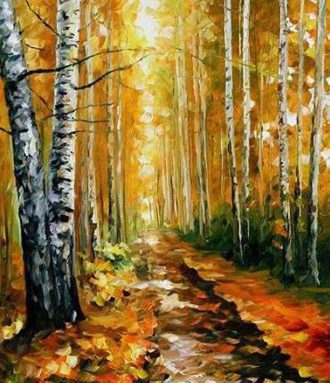 Осенний пейзаж в роще,
