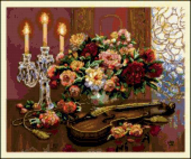 Скрипка цветы и свечи,