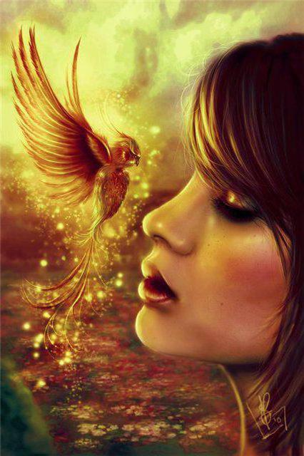 Девушка и феникс, девушка,