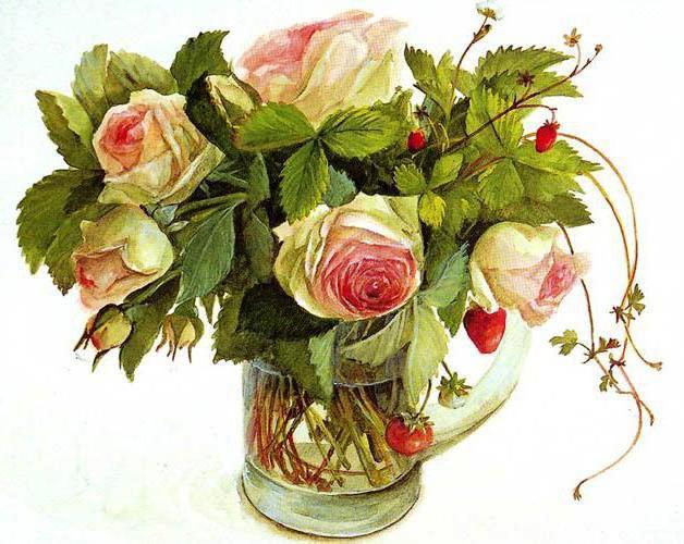 Букет из роз и земляники,