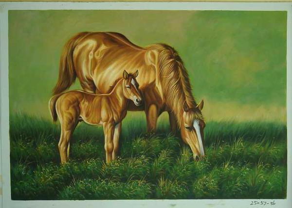 Лошадь и жеребенок, живопись,