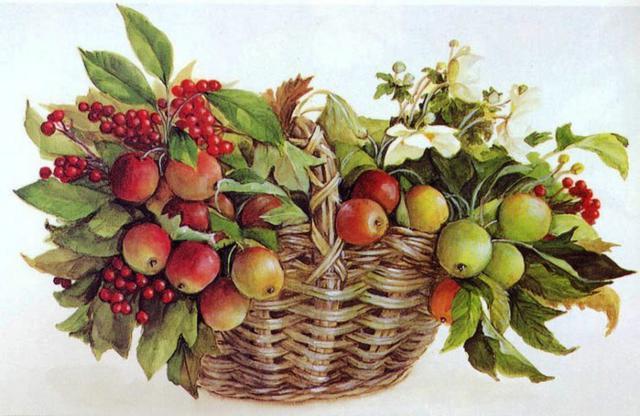 Корзина с фруктами, натюрморт,