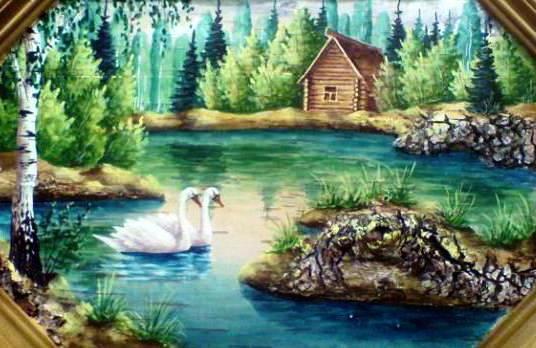 Летний пейзаж с лебедями,