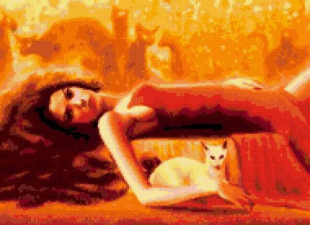 Девушка в красном и кошки,