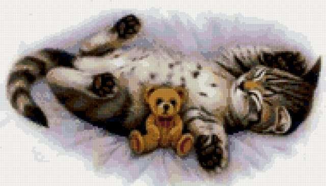 Котёнок и плюшевый мишка,