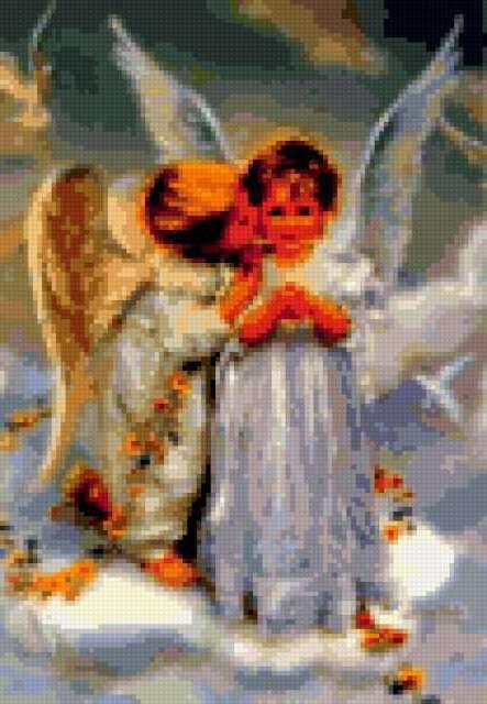 Вышивка крестом два ангела