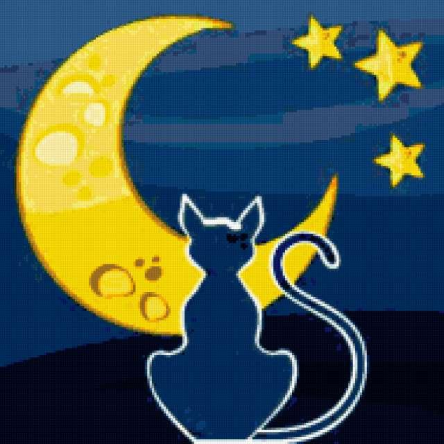 """Подушка - """"Кошка и месяц"""","""