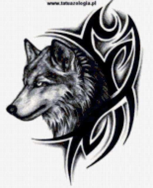 Схема вышивки «Волк тату»