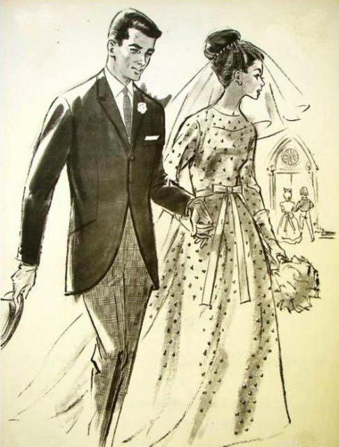 Ретро жених и невеста, ретро,