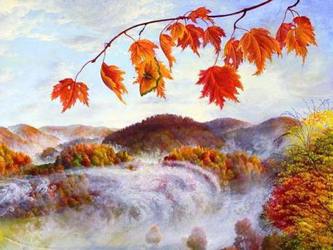 Кленовые листья над водопадом,