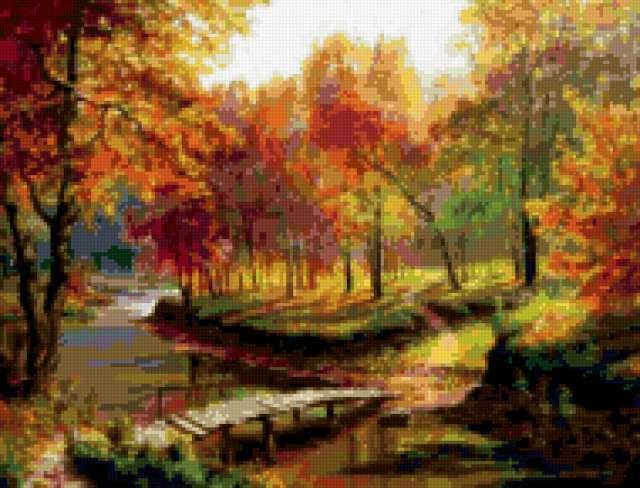 Осенний пейзаж с мостиком,