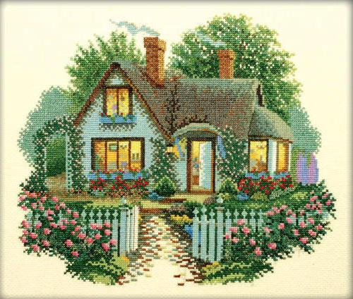 Дом с цветами, картина,
