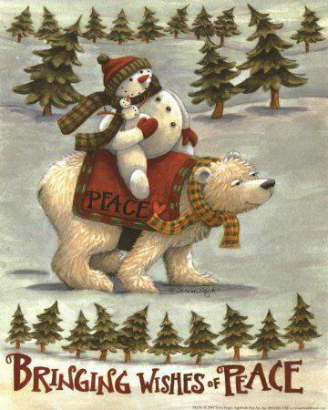 Снеговик и белый медведь,