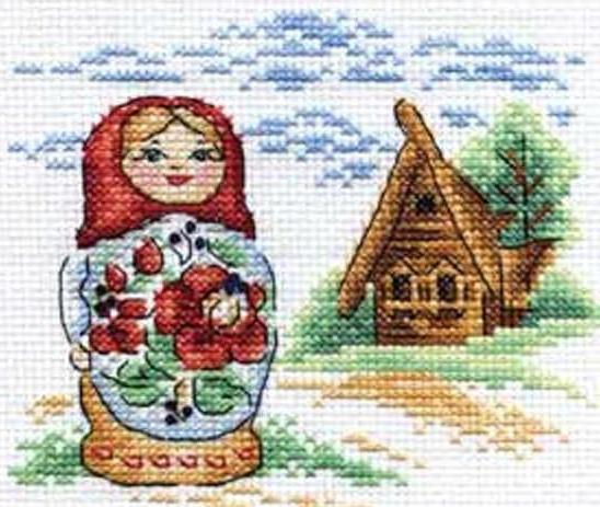 Матрёшка и домик в деревне,