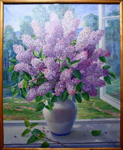 Сирень у окна, картина, цветы,
