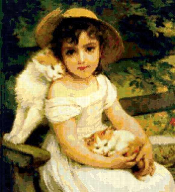 Девочка и котята, дети,