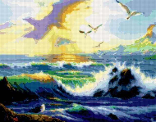Морской прибой и чайки,