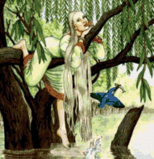 В ветвях плакучей ивы,