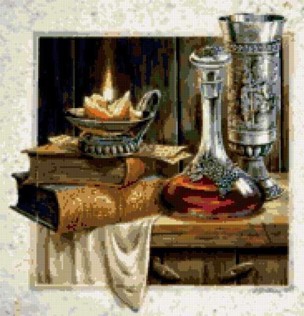 Натюрморт - книга, свеча и