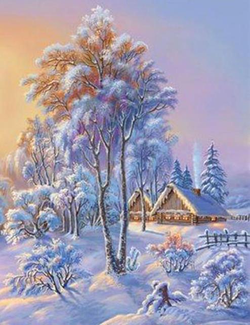 Схема вышивки серия красавица зима