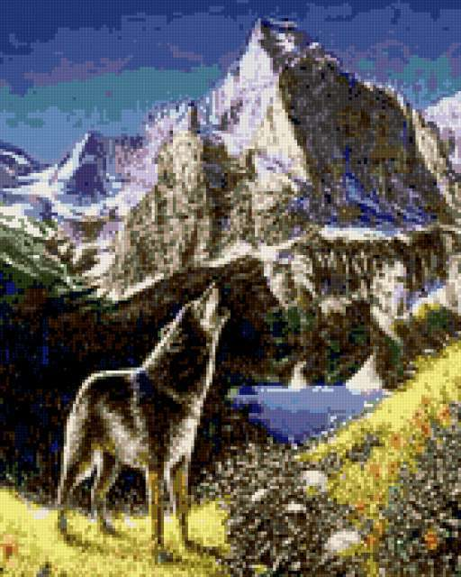 Вышивка бисер волк