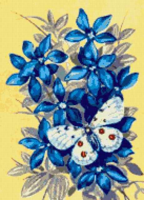 Голубые цветы и бабочка,
