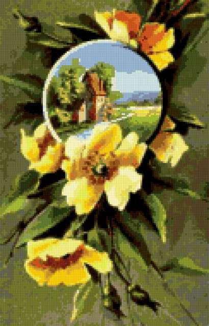 Жёлтые цветы и пейзаж,