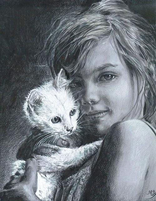 Девочка с котёнком, дети,