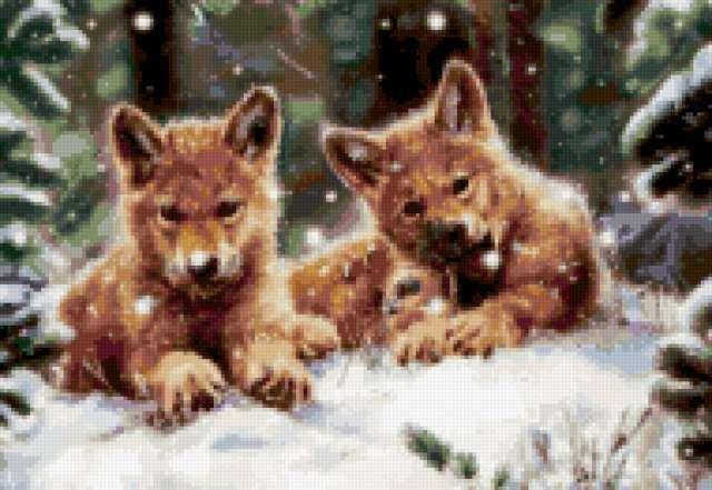 Волчата в зимнем лесу,