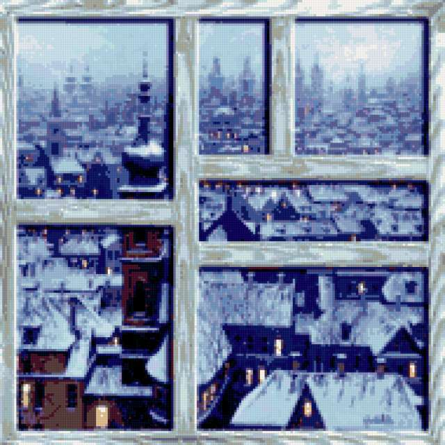 Зимний город вышивка