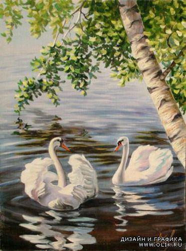 А белый лебедь на пруду,,,,,