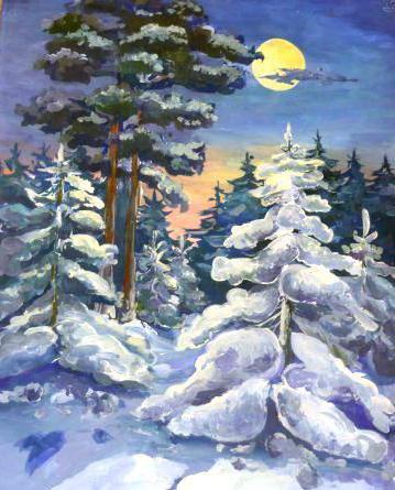 Зимний, лесной пейзаж, пейзаж,