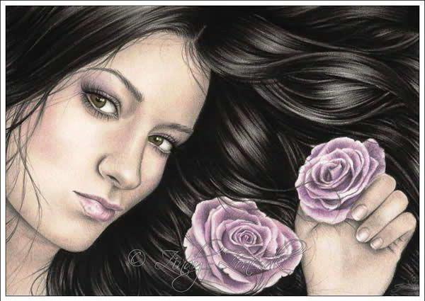 Портрет девушки с розами,