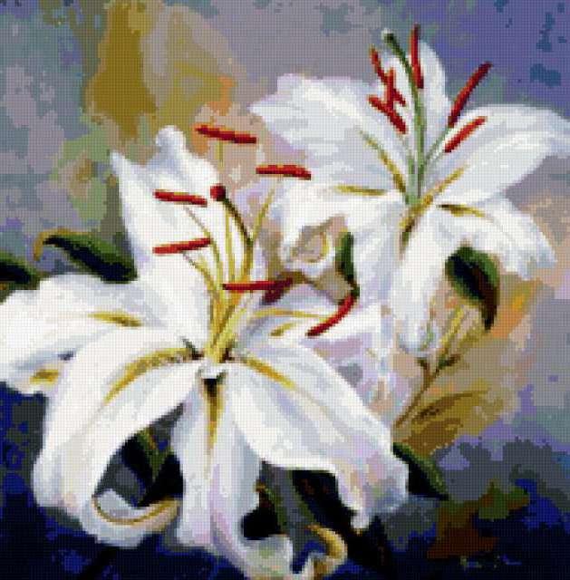 Белые лилии, предпросмотр