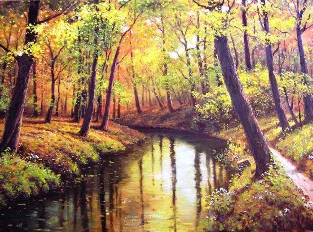 Осенний пейзаж с рекой,