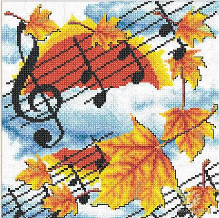 осень, музыка, кленовый лист,